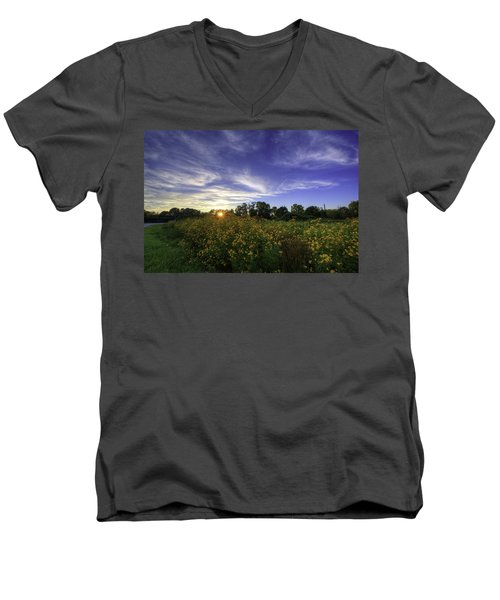 Last Rays Over The Flowers Men's V-Neck T-Shirt