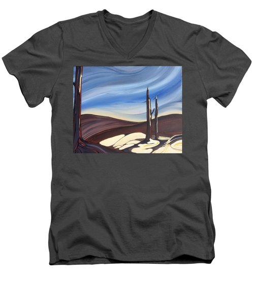 Last Snow Men's V-Neck T-Shirt by Pat Purdy