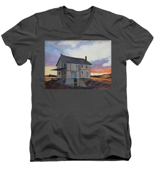 Men's V-Neck T-Shirt featuring the painting Last Stand by Andrew Danielsen