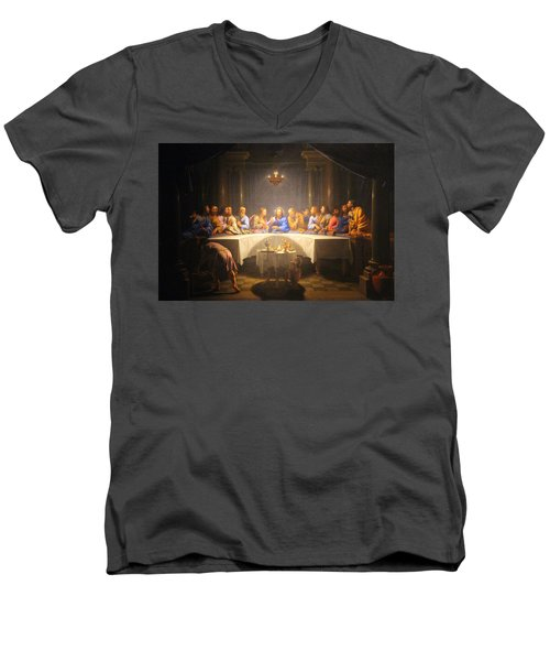 Last Supper Meeting Men's V-Neck T-Shirt by Munir Alawi