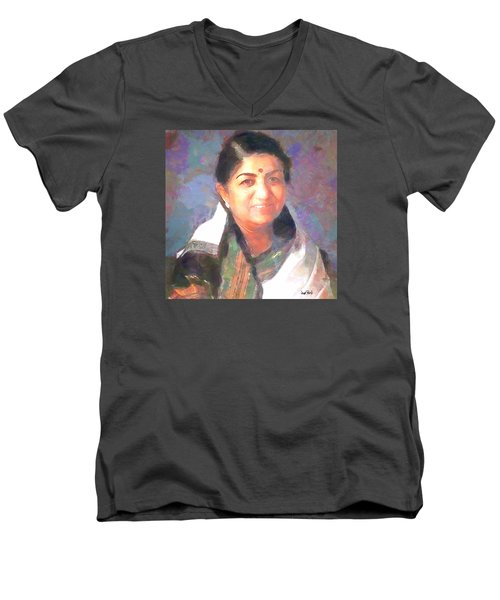 Lata Mangeshkar  Men's V-Neck T-Shirt