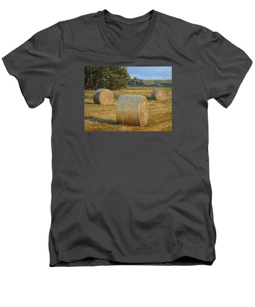 Late Afternoon Bales - Plein Air Men's V-Neck T-Shirt