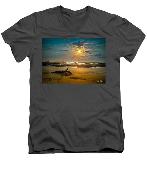 Men's V-Neck T-Shirt featuring the photograph Late Afternoon Costa Rican Beach Scene by Rikk Flohr