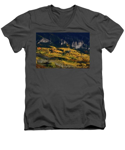 Late Afternoon Light On Aspen Groves At Silver Jack Colorado Men's V-Neck T-Shirt