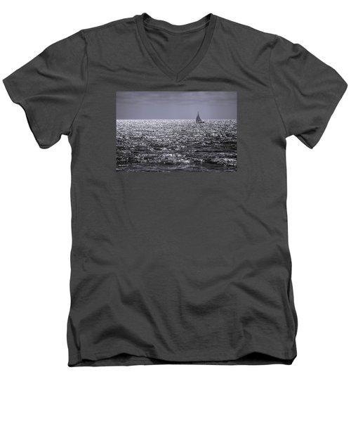 Sailboat Off The Coast At San Diego Men's V-Neck T-Shirt