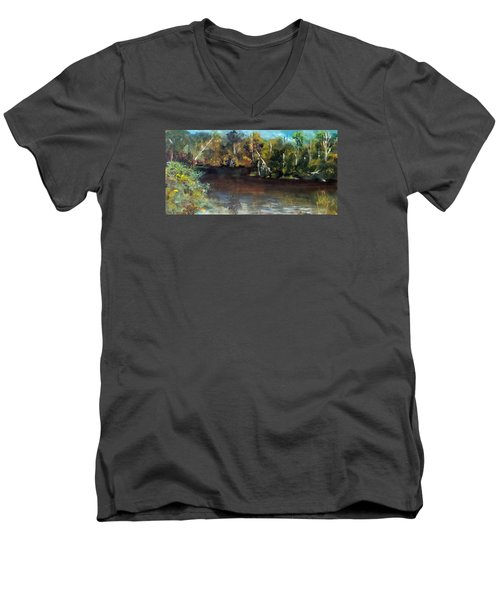 late in the Day on Blue Creek Men's V-Neck T-Shirt by Jim Phillips