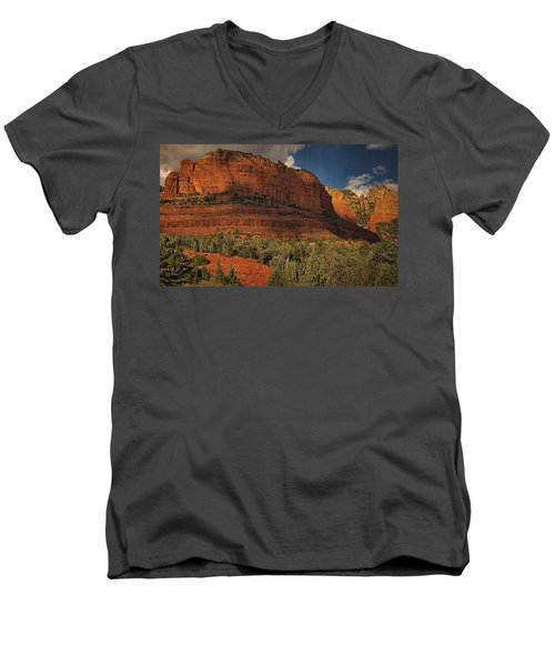 Late Light At Brin's Mesa Txt Pano Men's V-Neck T-Shirt