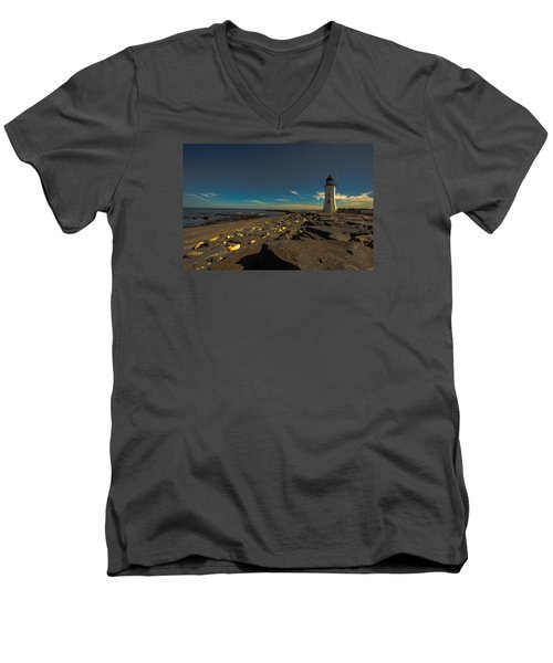 Late Light At The Light Men's V-Neck T-Shirt by Brian MacLean