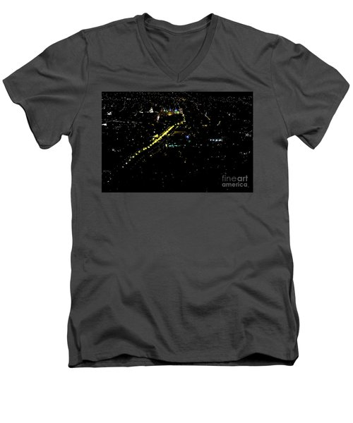 Men's V-Neck T-Shirt featuring the photograph Late Night In Cuenca, Ecuador by Al Bourassa