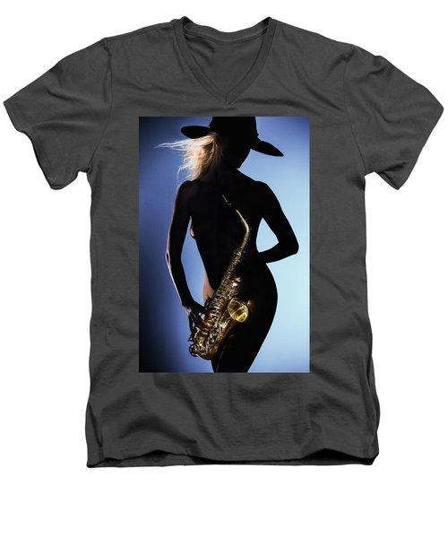 Late Night Sax Men's V-Neck T-Shirt