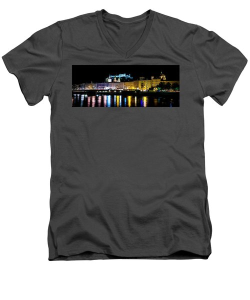 Men's V-Neck T-Shirt featuring the photograph Late Night Stroll In Salzburg by David Morefield
