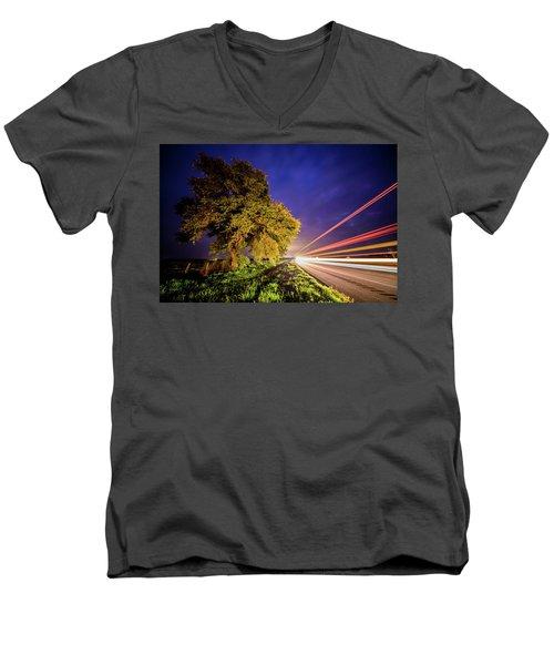 Late Night Texas Country Road Traffic Light Trails Men's V-Neck T-Shirt