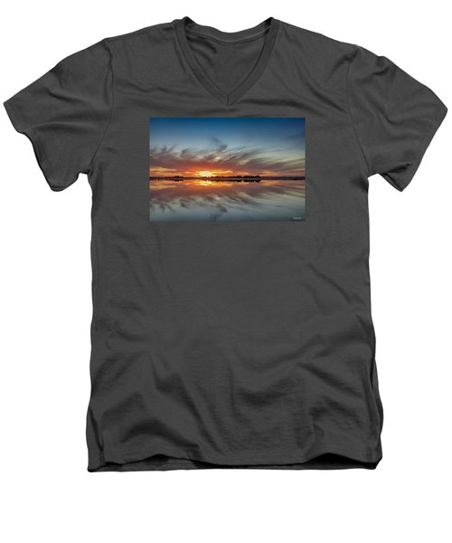 Men's V-Neck T-Shirt featuring the digital art Late November Reflections by Phil Mancuso