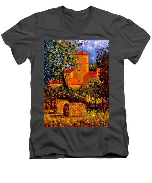 Men's V-Neck T-Shirt featuring the painting A Gust Of Wind.. by Cristina Mihailescu