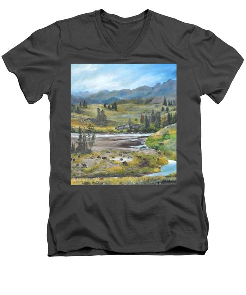 Late Summer In Yellowstone Men's V-Neck T-Shirt