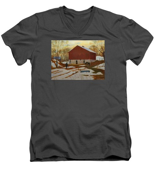 Late Winter At The Farm Men's V-Neck T-Shirt by David Gilmore