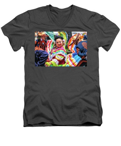 Latino Street Festival Dancers Men's V-Neck T-Shirt