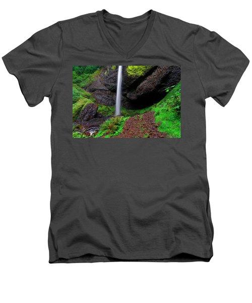Latourell Falls Oregon Men's V-Neck T-Shirt by Jonathan Davison