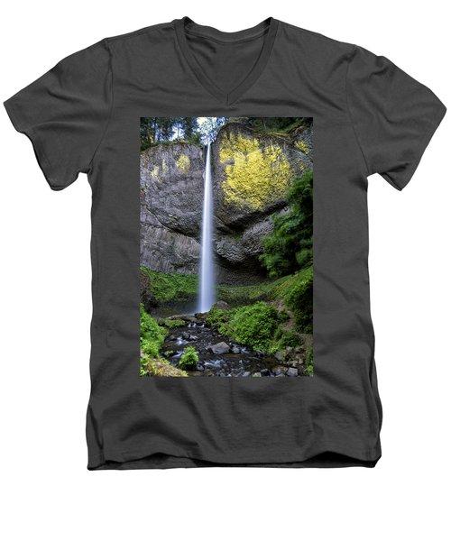 Latourell Water Fall Oregon Dsc05430 Men's V-Neck T-Shirt by Greg Kluempers