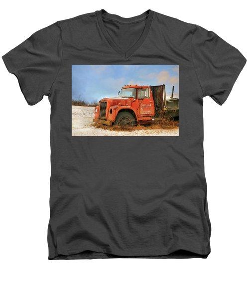 Men's V-Neck T-Shirt featuring the photograph Latsha Lumber Truck by Lori Deiter
