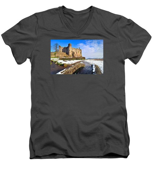 Laugharne Castle 2 Men's V-Neck T-Shirt