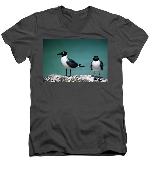 Laughing Gulls Men's V-Neck T-Shirt by Sally Weigand