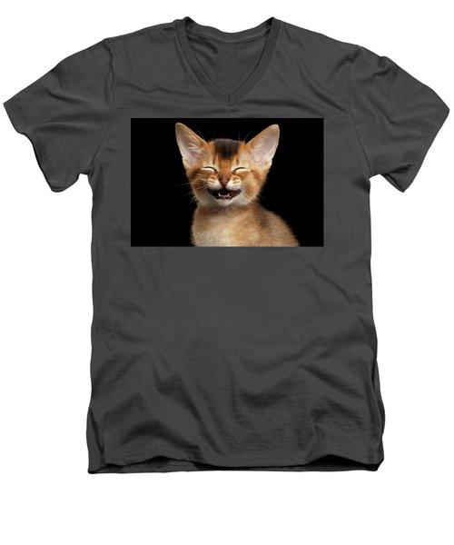 Laughing Kitten  Men's V-Neck T-Shirt