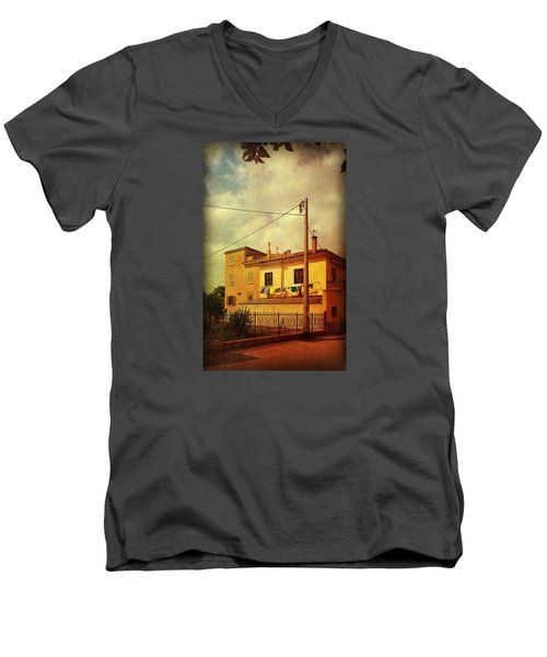 Men's V-Neck T-Shirt featuring the photograph Laundry Day by Anne Kotan