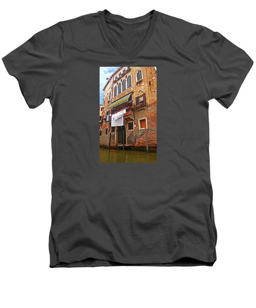 Men's V-Neck T-Shirt featuring the photograph Laundry Drying In Venice by Anne Kotan