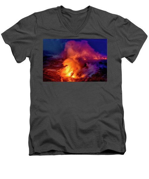 Lava And Ocean At Dawn Men's V-Neck T-Shirt by Allen Biedrzycki