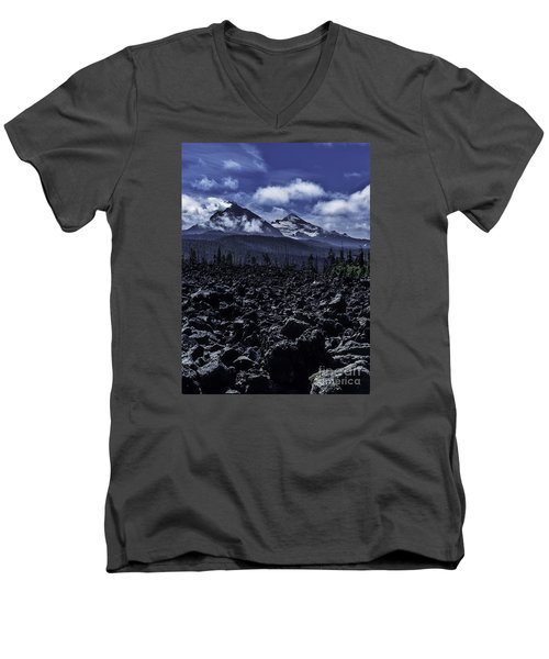Men's V-Neck T-Shirt featuring the photograph Lava Below The Sisters by Nancy Marie Ricketts