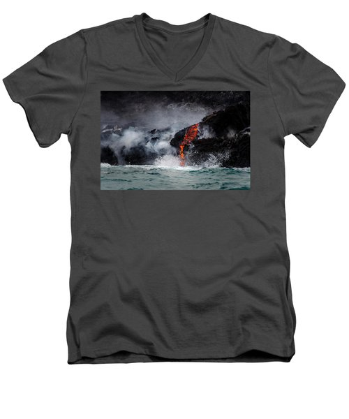 Lava Dripping Into The Ocean Men's V-Neck T-Shirt
