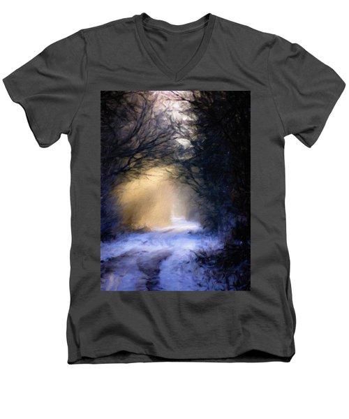 Lavander Snow  Men's V-Neck T-Shirt by Michele Carter