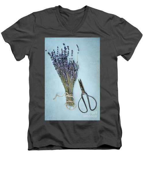 Men's V-Neck T-Shirt featuring the photograph Lavender And Antique Scissors by Stephanie Frey