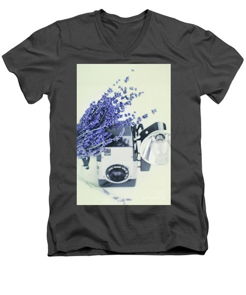 Lavender And Kodak Brownie Camera Men's V-Neck T-Shirt by Stephanie Frey