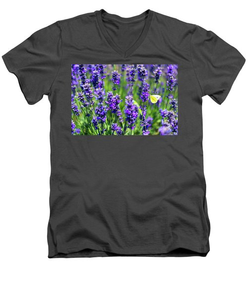 Men's V-Neck T-Shirt featuring the photograph Lavender And The Heart by Ryan Manuel