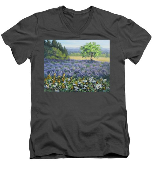 Men's V-Neck T-Shirt featuring the painting Lavender And Wildflowers by Karen Ilari