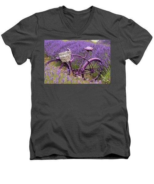 Lavender Bike Men's V-Neck T-Shirt