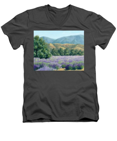 Men's V-Neck T-Shirt featuring the painting Lavender, Blue And Gold by Sandy Fisher