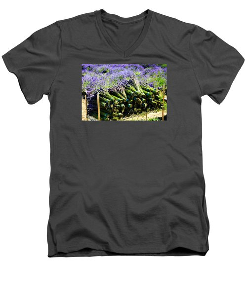 Men's V-Neck T-Shirt featuring the photograph Lavender Bounty by Tanya  Searcy