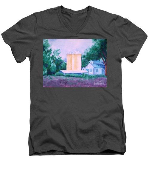 Men's V-Neck T-Shirt featuring the painting Lavender Farm Albuquerque by Eric  Schiabor