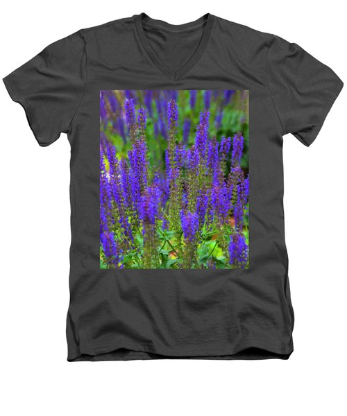 Men's V-Neck T-Shirt featuring the digital art Lavender Patch by Chris Flees