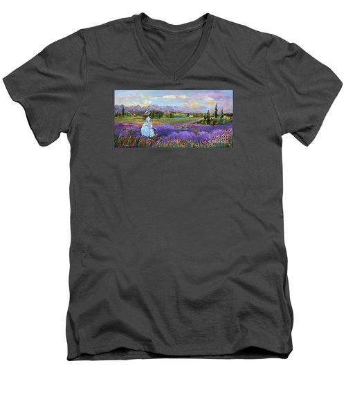 Men's V-Neck T-Shirt featuring the painting Lavender Splendor  by Jennifer Beaudet