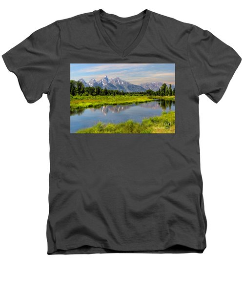 Lavender Teton Peaks  Men's V-Neck T-Shirt