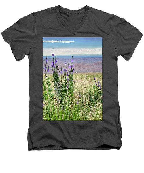 Lavender Verbena And Hills Men's V-Neck T-Shirt
