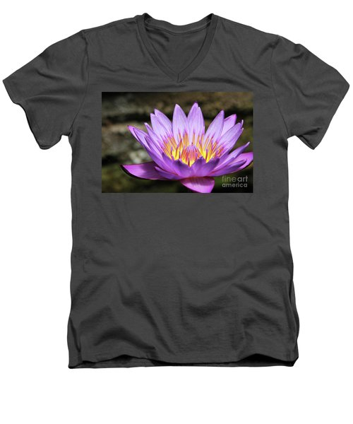 Lavender Water Lily #3 Men's V-Neck T-Shirt
