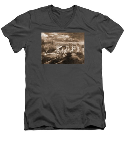 Men's V-Neck T-Shirt featuring the drawing Lawn by Mikhail Savchenko