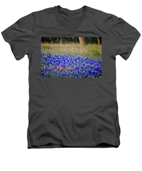 Men's V-Neck T-Shirt featuring the photograph Layers Of Blue by Linda Unger