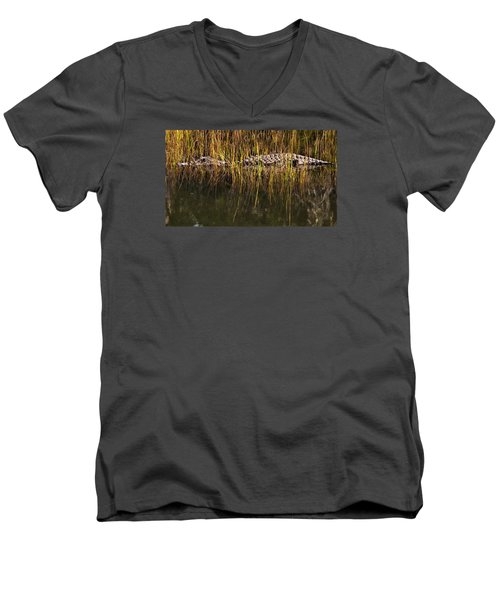 Men's V-Neck T-Shirt featuring the photograph Laying In Wait by Laura Ragland