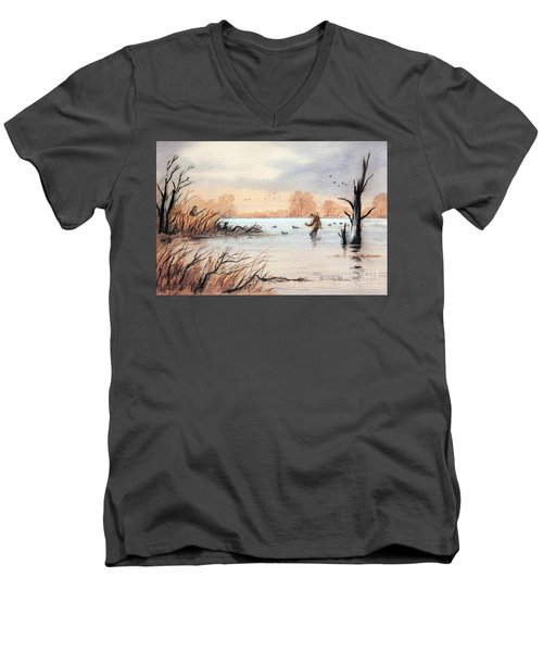 Laying Out The Decoys I Men's V-Neck T-Shirt by Bill Holkham